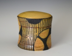 "Jar, Flashing Slip, Black Slip Trail, Salt Fired, 5""x4""x3"""