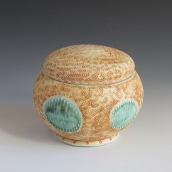 "Lidded Jar, Porcelain, 3.5""x4"""