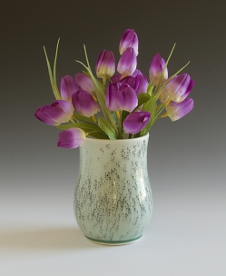Flower Vase with Black Mishima