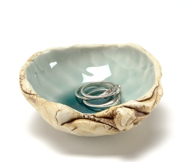 Small Porcelain Shell Dish, Ocean Blue Glaze